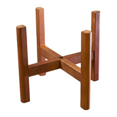 Mid Century Large Wood Plant Stand With Square Legs 12'' Walnut Color