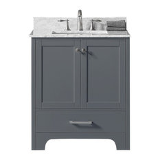 """30"""" Single Bathroom Vanity, Cashmere Gray with Carrara White Marble Top"""