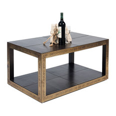 40-inch Cocktail Table Leather Mdf Brown Antique Finish Greek Key Design