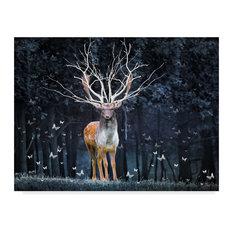 """Magical Deer"" by Ata Alishahi, Canvas Art, 19""x14"""