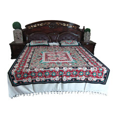 Mogul Interior - 3pc Indian Inspired Bed Cover Bedding Floral Printed Bedroom Decor - Sheet And Pillowcase Sets