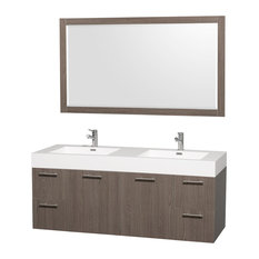 "Amare Gray Double Oak 60"" Vanity, 58"" Mirror, Acrylic-Resin, Integrated"