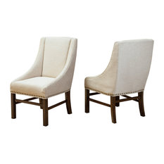 GDF Studio Claudia Fabric Dining Chairs, Natural Fabric, Set of 2