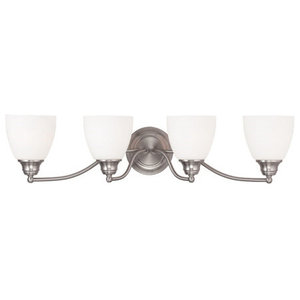 Bathroom Vanity 4 Light With Hand Blown Satin Opal White Glass Brushed Nickel