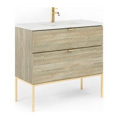 Aspen 40-inch Bathroom Vanity Cabinet And Sink 40-inchx35-inchx18-inch Toasted Oak Glossy Gol
