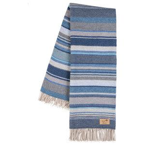 Milano Striped Merino Wool Throw, Blue