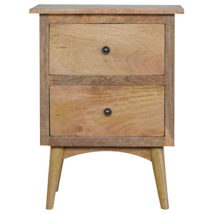 2-Drawer Bedside Table, Oak Finish Mango Wood