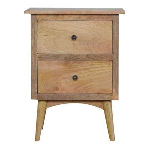 2-Drawer Bedside Table, Oak Finish Mango Wood