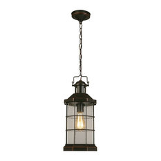 San Mateo Creek 1-Light Outdoor Pendant Oil Rubbed Bronze Clear Seeded Glas