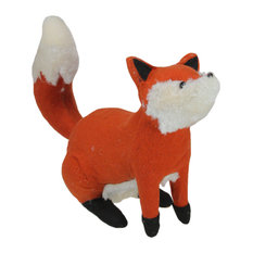 "15.75"" Plush Orange and Cream Sitting Fox Fall Tabletop Decoration"