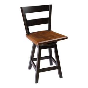 """Swivel Bar Stool, Oak With Straight Back, 2-Tone, Counter Height, 24"""""""