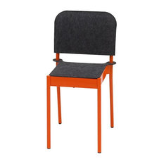 La Table Powder-Coated Steel Chair With Felt Seat and Backrest, Orange