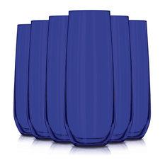 Libbey 8.5 oz. Stemless Flute Glasses, Set of 6, Blue