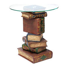 Unique End Table, Polyresin Stacked Book Tower With Tempered Glass Top