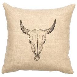 Cute Rustic Decorative Pillows Linen Image Pillow Bull Skull