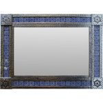 """Fine Crafts & Imports - Large Silver Target Tile Mexican Mirror - This is a large tin mirror, fully decorated all the way around its frame. These decorations are known as punched tin. In the frame central part has hand-painted Blue Target Talavera Mexican Tile. This mirror will delight your home decor. It will fit any dressing area such as your bathroom or a hallway. The dimensions described in the """"Main characteristics"""" section are overall dimensions. The frame is about 5"""" wide which makes the glass about 20"""" x 30"""""""