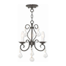 3-Light English Bronze Convertible Mini Chandelier/Ceiling Mount