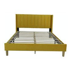 Platform Bed Frame, Wooden Slat Support and Ribbed Upholstered Headboard, Full/Y