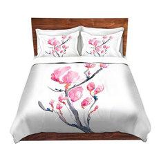 Floral Magnolia Painting Nature Modern Duvet Set, King