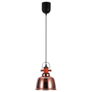 Etel Pendant Lamp, Glass and Carbon Steel, Copper Red