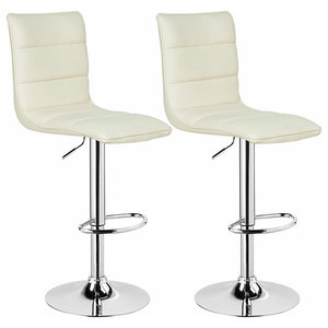 Bar Stools Upholstered With Faux Leather With High Backrest, Set of 2, White
