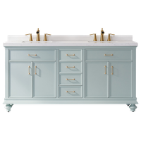 """Charlotte Vanity with Composite Stone Countertop, 72"""", Without Mirror"""