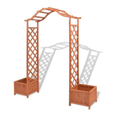 vidaXL Solid Wood Garden Arch Pergola Trellis Plants Support Outdoor Archway