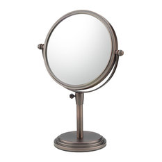 Classic Adjustable Free Standing Mirror With 5x and 1x Magnification, Bronze