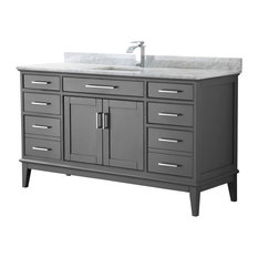 "Margate 60"" Dark Gray Single Vanity, Carrara Marble Top, Square Sink, No Mirror"