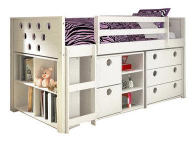 Junior Loft Bed, Bookshelves, Dresser U0026 Storage Drawers In One