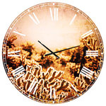 Designart - Cactus Plants in Saguaro National Park Floral Metal Clock, 38x38 - A beautiful addition to any home or office, this Traditional round wall clock is made on 100% solid aluminum. It has a highly reflective glossy finish creating a sleek modern look. This Cactus Plants in Saguaro National Park wall clock arrives completely ready to hang on the wall. Simply insert the �AAA� battery included with your order.
