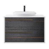 "Goreme 42"" Smoke Oak Gray Wall Mount Modern Bathroom Vanity"