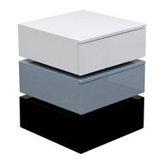 Diamond Sofa   Tri Color Accent Table With 2 Drawer Storage, Black/