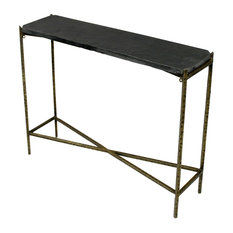 """Venice Kirby Console Table With Stone Top and Textured Iron Base, 32""""w X 8""""d X 2"""