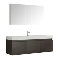"Fresca Mezzo 60"" Gray Oak Wall Hung Single Sink Modern Bathroom Vanity"