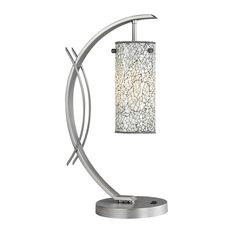 Woodbridge Lighting Eclipse Table Lamp, Satin Nickel, Mosaic Glass White