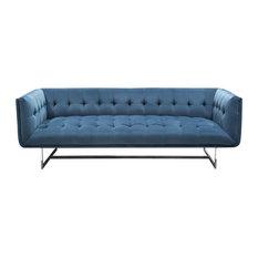 Diamond Sofa   Hollywood Tufted Sofa In Royal Blue Velvet With Metal Leg    Sofas