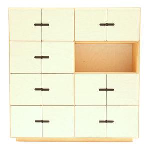 PIX Sideboard, Oak and White, 7 Cupboards