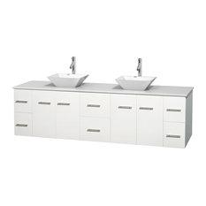"""Centra 80"""" Matte White Double Vanity, White Stone Top, Pyra White Porcelain"""