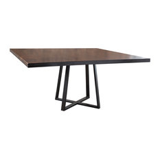 Industrial Steel Square Pedestal Table Tuscany Finish 72-inch X 72-inch X 30-inch H