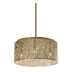 Siena 8-Light Crystal Chandelier With Floral Pattern, Palladium Gold