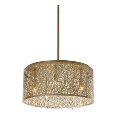 Siena 8-Light Crystal Chandelier With Floral Pattern, Palladium Gold