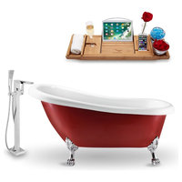 """Streamline 61"""" Clawfoot Tub, Faucet and Tray Set, Chrome Feet, H-100 Faucet"""