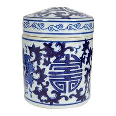Blue and White Porcelain Tea Caddy Jars, Set of 2