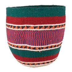 Kenyan Handwoven Basket, Green, Red and Orange Stripe