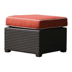 Patio Ottoman, Brown, Cajun Red Cushion