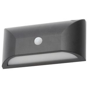 Truro Outdoor LED Rectangular Wall Light With PIR Sensor, Black