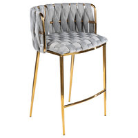 Milano Counter Chair, Gray With Gold Legs