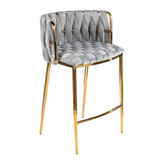 Milano Counter Chair Gray With Gold Legs