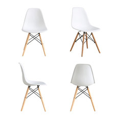 Btexpert   White Midcentury Natural Wood Metal Legs Dining Side Chairs  White, Set Of 4